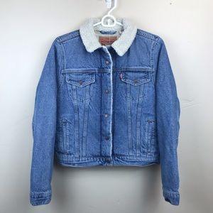NWT Levi's Denim Shearling Lined Trucker Jacket